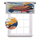 Demi-rideau de fenêtre de sport, en forme de ballon de rugby, dessin coloré avec griffonnages colorés, idéal pour les petites fenêtres dans les cuisines et salles de bain, 106 x 45 cm, multicolore