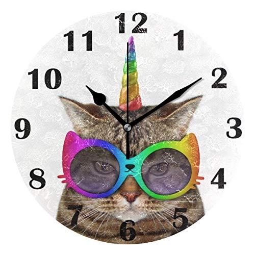 El unicornio del gato viste de reloj de pared silencioso marcando las gafas de sol divertidas sin relojes con pilas de escritorio de la vendimia del reloj análogo de cuarzo tranquila Habitación Sala D