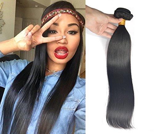 Greemeo Lisse Brésilien Cheveux Tissage 100% Réel Cheveux Humains Extension Sleek Straight 100 Grammes 1 Bundle Pack (16 Pouces, Naturel color)