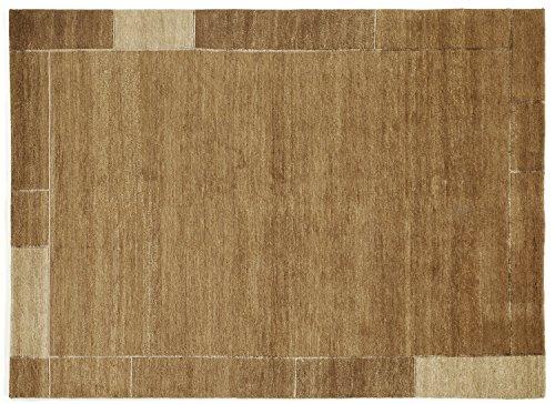 SOPRANO BORDER echter original handgeknüpfter Nepal Teppich in cappuccino, Größe: 140x200 cm