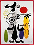 1art1 Joan Miró Poster Kunstdruck und Kunststoff-Rahmen -