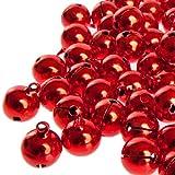Kleenes Traumhandel 100 Laute rote Glöckchen Schellen mit Öse - ca. 17x13 mm - Aus Kupfer