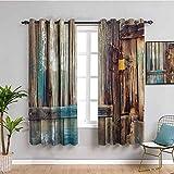 Cortinas opacas rústicas premium envejecidas para puerta con detalles de color Country Living Exterior Pastoral Mansión imagen impermeable tela marrón W63 x L72 pulgadas