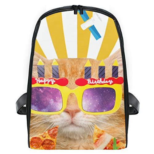 Funny Orange Cat Happy Birthday Pizza Preschool Backpack Daypack School Bag for Boys and Girls