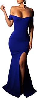Womens Dress Off The Shoulder Side Slit Mermaid Evening Party Maxi Dress