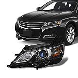 Fits 2014 2015 2016 2017 2018 2019 2020 Chevy Impala [Halogen Style] Projector Black Headlight Driver Left Side Headlamp