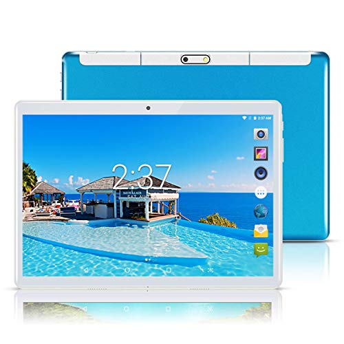 YELLYOUTH Android Tablet 10 inch with Sim Card Slots 2.5D Curved Glass Touch Screen 4GB RAM 64GB ROM Octa Core 3G Unlocked GSM Phone Tablet PC Compatible with WiFi Bluetooth GPS (Blue)