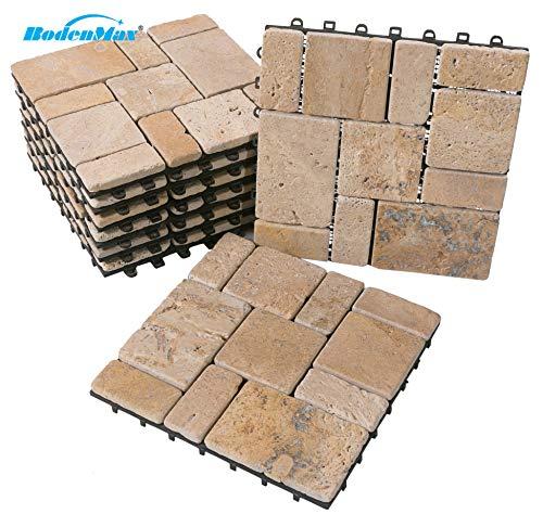 BodenMax® LLTRAVROMA-5-YP Travertine-Roma patroon Click Travertin vloertegels set 30 x 30 cm terrastegels kliktegels balkontegels binnengebruik buiten (2 stuks, 0.18sm2, patroontegels)