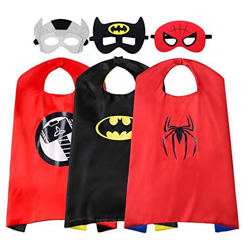 ReliBeauty Capas Superheroes niños con Mascara Disfraces Carnaval