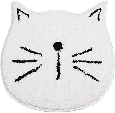 Cute Doormat for Kids - Microfiber Absorbent Bathroom Mats - Front Door Mat Carpet Floor Rug, Cat Shape - White