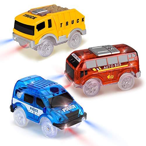 Tyhbelle 3er Pack Set Magic Track Car Spielzeug für Kinder,Leuchten Spielzeugautos 5 LED-Blinklichtern, Blauer Polizeiwagen, roter Bus, gelber LKW, kompatibel mit den meisten Rennstrecken