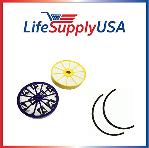 LifeSupplyUSA Replacement Pre and Post Motor HEPA Filters with Rubber Seals Compatible with Dyson DC07 Vacuums, DYR-1810 Parts 904979-02 901420-02