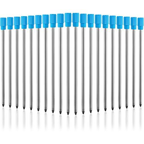 TecUnite 2.75 Inch Ballpoint Pen Refills for Diamond Crystal Stylus Pens and Ballpoint Pens with Black Velvet Bag, 20 Pieces (Blue Refill)