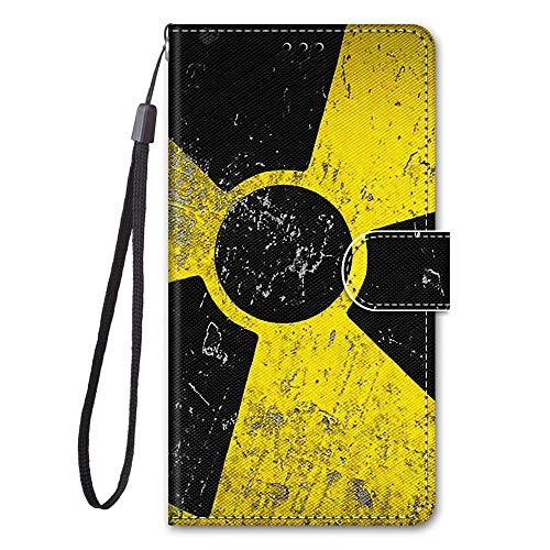 Miagon Full Body Flip PU Leder Schutzhülle für Xiaomi Redmi Note 9S,Bunt Muster Hülle Brieftasche Case Cover Ständer mit Kartenfächer,Gelb Schwarz