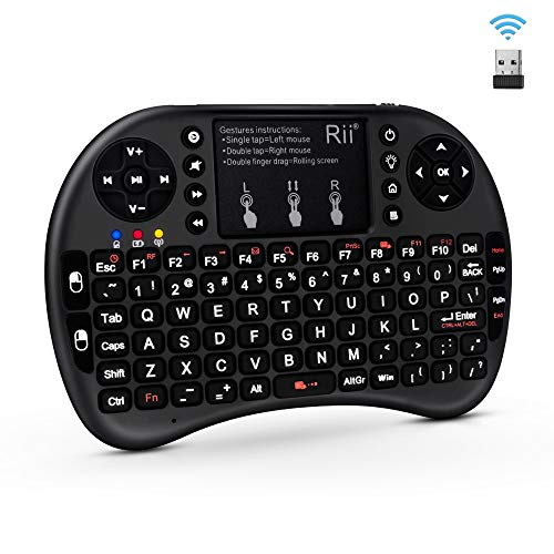 (Upgraded)Rii 2.4GHz Mini Wireless Keyboard with Touchpad,QWERTY Keyboard,LED Backlit,Portable Keyboard Wireless for laptop/PC/Tablets/Windows/Mac/TV/Xbox/PS3/Raspberry Pi .(i8+ Black)