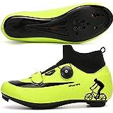 WYUKN Calzado de Ciclismo de Carretera para Hombre - Calzado de Bicicleta Ligero Unisex Calzado Deportivo Informal para Viajeros con Asistencia,Green-39EU=(245mm)/6UK/7US