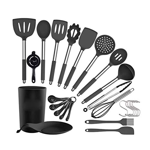Kitchen Utensil Set, 30Pcs Silicone Cooking Utensils Set Heat Resistant Kitchen Tools Turner Spatula Spoon Whisk Tong Oil Brush Measuring Cups, BPA Free