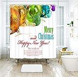 120x180CM Duschvorhang, Merry Weihnachtskugel Badewanne Vorhang, Polyester Stoff 3D-Digitaldruck, Waschbar, Anti-Schimmel, Schnelltrocknend, mit 12 Duschvorhangringen, Für Badewanne - Weiß
