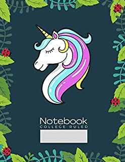 Notebook - Unicorn Head Icon: 8.5x11 Inches Unicorn College Ruled Notebook for Students, Homeschool, Teachers and Office