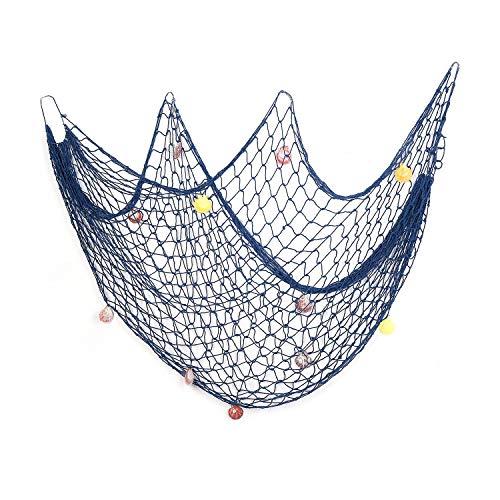 AOFOX - Red azul de pesca decorativa de estilo mediterráneo con conchas, azul, 1 m x 2 m