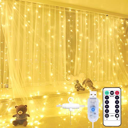 Yizhet Luces de Cadena de Cortina, 2x 2m 200 LED Cortina Luces Luz de Cortina USB con Mando a Distancia 8 Modos de Luz, Resistente al aguapara para Decoración Ventana,Navidad,Fiestas (Blanca Cálida)