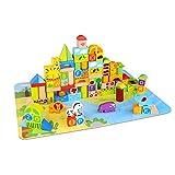 Tooky Toy Holzspielzeug großes 135-teiliges Baustein-Set Jungle - Bunte Bauklötze mit Stadtfläche, Buchstaben und Zootieren - Alphabet Lernspiel für Kleinkinder mit Spielunterlage
