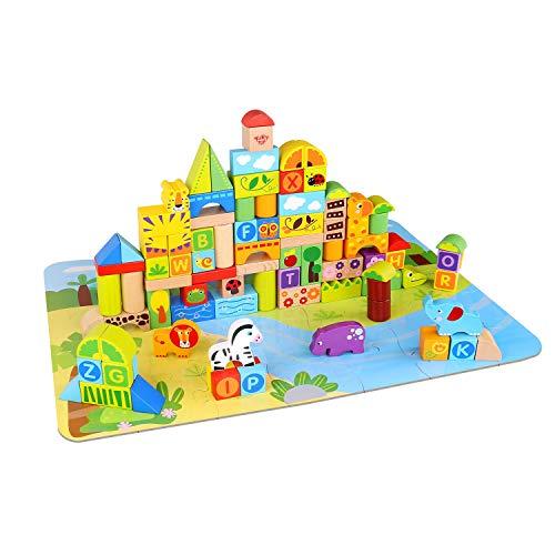 Tooky Toy Blocs de Construction en Bois - Alphabet - Animaux de la Jungle - Jeu de Construction - Jouets pour Les Petits - Jouet Enfant - Jouet en Bois