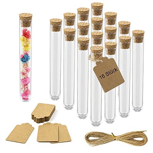 16 pezzi piccole bottiglie di sughero per spezie, sabbia, provette con tappo in sughero, provette trasparenti e ciondolo – come regalo per gli ospiti, decorazioni per matrimoni