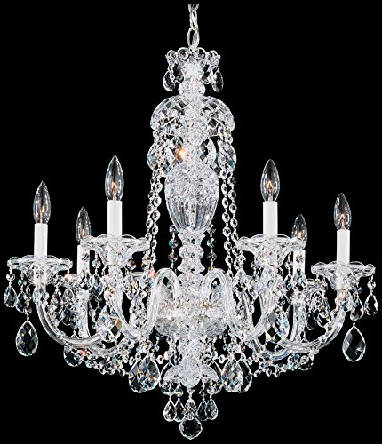 Schonbek 2995-40H Swarovski Lighting Sterling Chandelier, Silver
