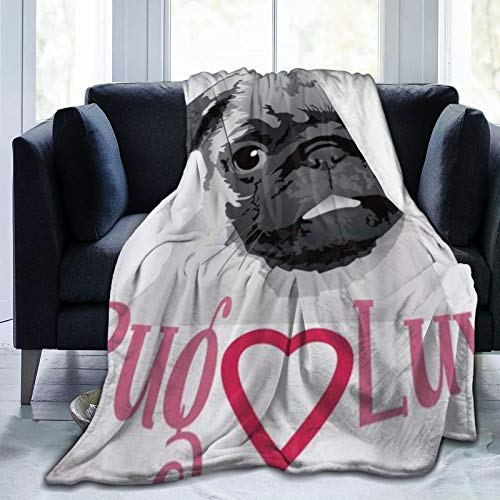 QIUTIANXIU Mantas para Sofás de Franela 150x200cm Pug Love Lindo Dibujo en Tonos Grises de un Perro Mascota Animal Divertido vínculo Manta para Cama Extra Suave