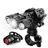 [Updated 2020 Version] AMAGARM USB Rechargeable Bike Headlight Rear Light Set, Runtime 10+ Hours 600 Lumen Super Bright Front Lights and Back Tail LED, 4 Light Mode Fits All Bicycles, Road, Mountain