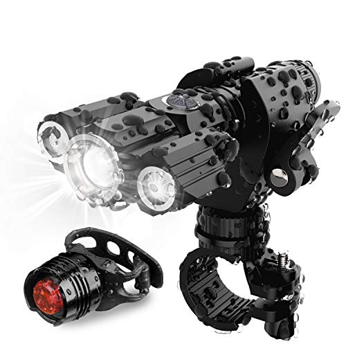 [Updated 2020 Version] AMAGARM USB Rechargeable Bike Headlight Rear Light Set, Runtime 10+...
