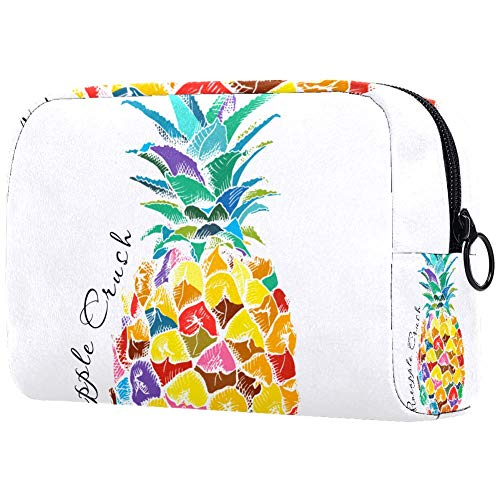 Trousse de toilette portable personnalisable pour femme - Sac à main - Organiseur de voyage - Avec image d'ananas et fruits