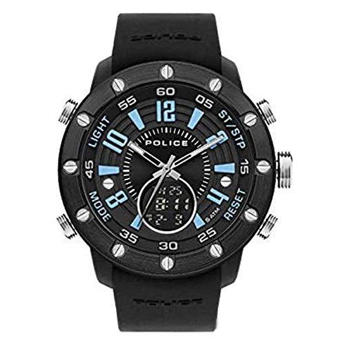 Police Batur Reloj analógico digital de cuarzo negro con esfera azul y negra