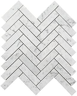 Italian Bianco Carrara (Carrera) White Marble 1 X 4 Herringbone Mosaic Tile, Honed