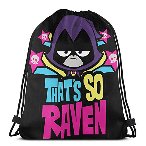 jiadourun Drawstring Bags Teen Tit-Ans Go! Ra-Ven Unisex Travel Backpack Sport Gym Backpacks Shopping Storage Bag