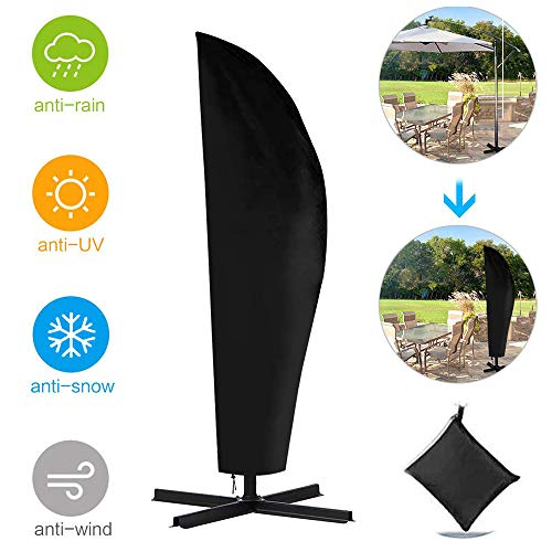 SHIKUN wasserdichte Sonnenschirmabdeckung Große Polyester-Regenschirmabdeckung mit Teleskopstange Anti-Staub/UV mit schwarzer Aufbewahrungstasche für Gartenschutz im Freien