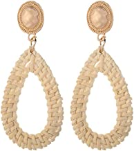 QIUUE HOT ! Bohemian Retro Style Pearl Simple Fashion Handmade Rattan Geometric Drop Ladies Jewelry Birthday Dating Gift