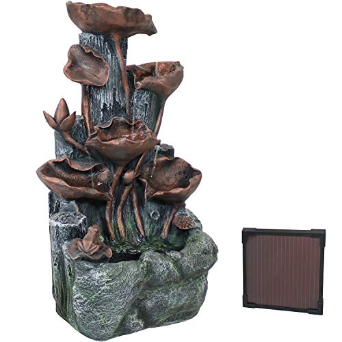 Sunnydaze Tiered Driftwood and Flourishing Stems Cascading Solar Fountain with Battery Backup and LED Light - Outdoor Water Feature with Rechargeable Solar Battery - 30-Inch