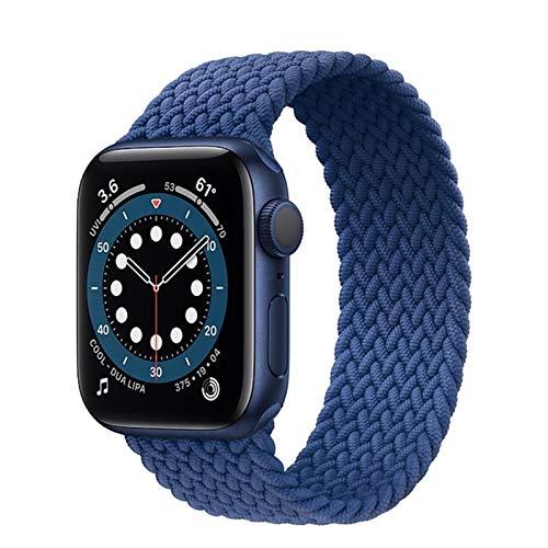 Sorteo Nueva Correa elástica de Nylon para Apple Watch 6 SE Banda para iWatch Serie 5 4 3 Pulsera de cinturón Trenzado Solo Loop 38mm 40mm 42mm 44mm (Band Color : Color Blue, Size : 38 40mm L)