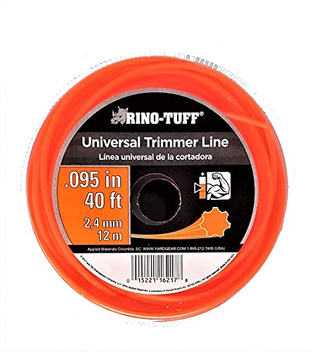 """Rino Tuff 16217A .095"""" x 40' Rounded Light Duty Trimming Line for Gas, Electric, Rounded, and Straight Trimmers"""