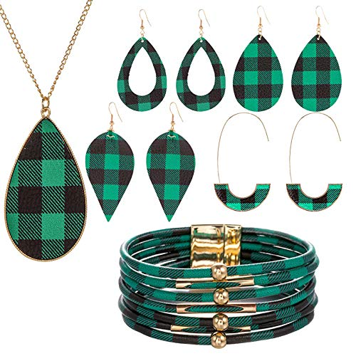 Kingwo Jewellery Gifts For Women 10 Pieces Jewellery Sets Heart Pendant Necklace 4 Pairs Of Earrings Earrings Bracelet Set + 1 Bracelet Anniversary/Birthday Gifts For Her/Wife(Green1)