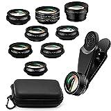 Mobile Phone Lens, 10-in-1 Universal Mobile Phone Camera Lens Kit, Wide Angle & Macro Lens + Telephoto Lens + Fisheye Lens + Kaleidoscope/CPL/Flow/Star/Radial Filter Mobile Phone Lens Set