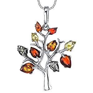 "Sterling Silver Multi-Color Baltic Amber Tree of Life Pendant Necklace 18"" Rolo Chain"