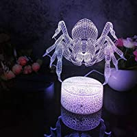 リモコン、Led 3Dナイトライトスパイダーパターン常夜灯子供の寝室の装飾デスクランプ16色