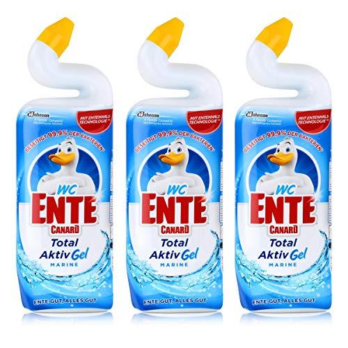 3x WC Ente Aktiv-Gel WC Reiniger Marine 750 ml