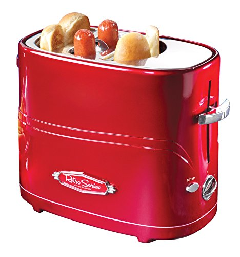 Nostalgia HDT600RETRORED Pop-Up 2 Hot Dog and Bun Toaster With Mini Tongs Works with Chicken,...