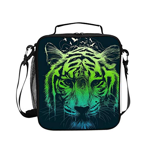 Insulated Lunch Boxes (Neon Tiger) with Shoulder Strap and Extra Storage Pocket Best Lunch Box for Portion Control Diet