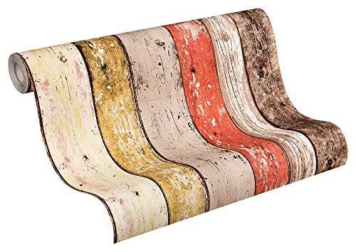 A.S. Création Vliestapete New England 2 Tapete in Holz Optik fotorealistische Holztapete maritime Optik 10,05 m x 0,53 m beige braun rot Made in Germany 895127 8951-27