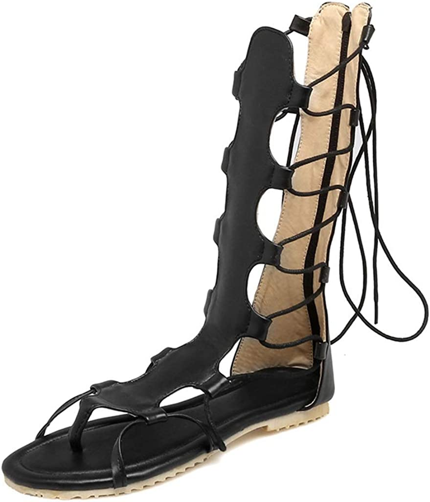MIOKE Womens Gladiator Knee High Flat Sandals Strappy Caged Lace Up Zip Summer Roman Thong Flipflop Boots